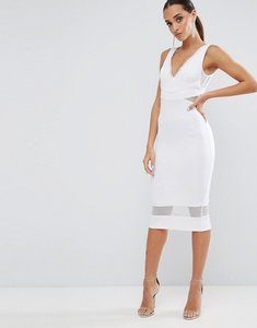 Read more about Asos mesh insert sporty midi dress - white