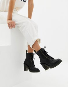 Read more about Dr martens kendra black leather heeled ankle boots - black