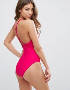 Read more about French connection contrast trim swimsuit - passion pink