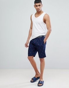 Read more about Polo ralph lauren all over player print lounge shorts logo waistband in navy - polo print navy
