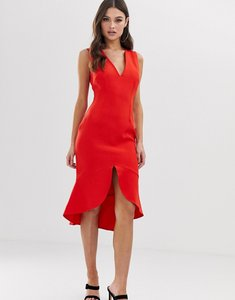 Read more about Vesper midi dress with soft pep hem in red