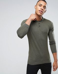 Read more about Asos knitted muscle fit polo shirt in khaki - hunter green
