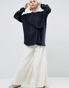 Read more about Asos white pinstriped sweat with tuck detail - navy