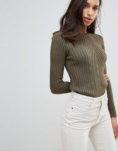 Read more about Brave soul rosa ribbed crew neck jumper - khaki