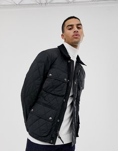 Read more about Polo ralph lauren quilted biker jacket with leather trim in black