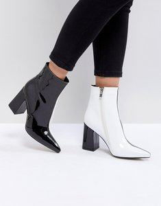 Read more about Public desire chaos black and white contrast ankle boots - black white