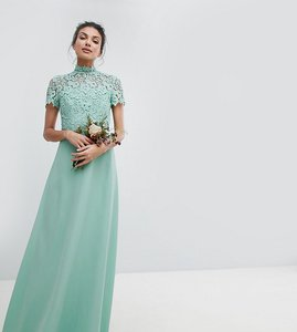 Read more about Chi chi london tall 2 in 1 high neck maxi dress with crochet lace - green lily