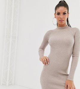 Read more about Asos design tall ribbed knit mini dress with raglan sleeve