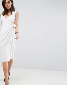 Read more about Asos shawl collar wrap dress - ivory