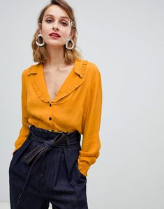 c8958603de7b5 Read more about Asos design waisted tea blouse with collar detail - mustard