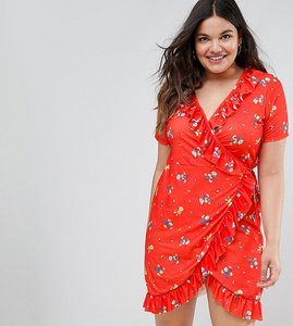Read more about Asos curve wrap dress with frill in floral print - red floral
