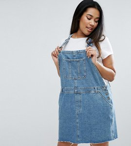 Read more about Asos curve denim dungaree dress in midwash blue - blue