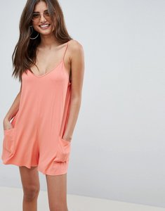 Read more about Asos design jersey minimal playsuit with pockets - peach