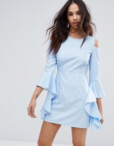 Read more about Missguided cold shoulder frill sleeve dress - blue