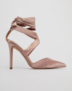 Read more about Asos pinot satin lace up heels - nude satin