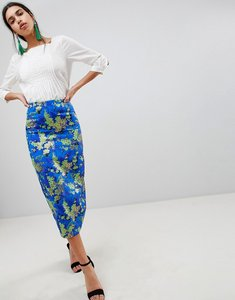 Read more about Asos design midi pencil skirt in jacquard - multi