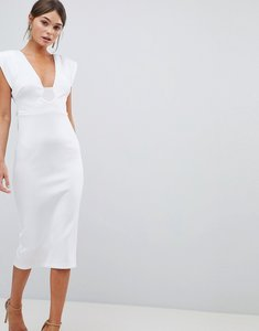 Read more about Asos design premium deep plunge tassel back midi dress - white