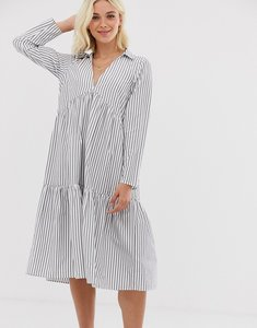 Read more about Asos design tiered collared cotton smock midi dress with long sleeves in cut about stripe