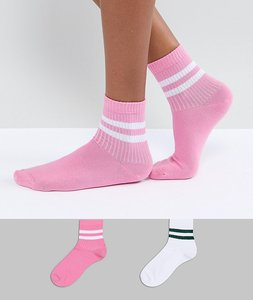 Read more about Asos 2 pack stripe ankle sock - multi