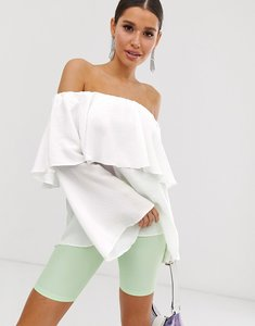 Read more about Asos design tiered top with off shoulder detail in ivory - ivory