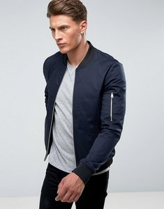 Read more about Asos design muscle fit bomber jacket with sleeve zip in navy - navy