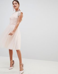 Read more about Chi chi london cap sleeve lace 2 in 1 midi dress with tulle skirt - blush