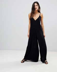Read more about Asos design deep v strap back jumpsuit - black