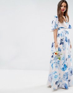 Read more about Asos wedding pink base floral flutter sleeve maxi dress - multi