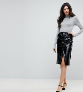 Read more about Asos tall vinyl pencil skirt with belt detail - black