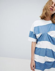 Read more about Asos white thick stripe t-shirt with tuck detail - white blue