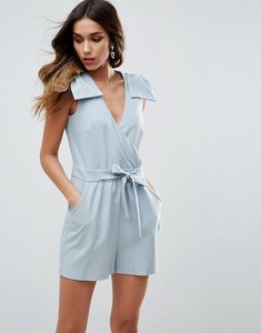Read more about Asos bow wrap playsuit - grey blue
