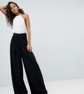 Read more about Missguided tall pleat wide leg trouser - black