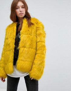 Read more about Bershka faux fur jacket - yellow