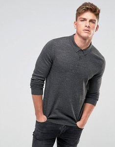 Read more about French connection knitted long sleeve polo - grey