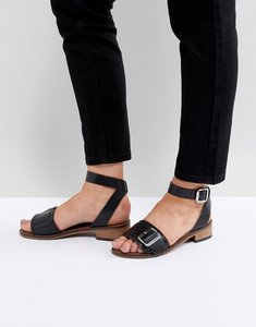 Read more about H by hudson leather flat sandals - black