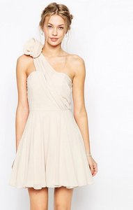 Read more about Tfnc prom one shoulder dress with corsage detail - nude