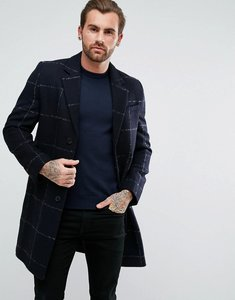 Read more about Asos checked wool mix overcoat in navy - navy