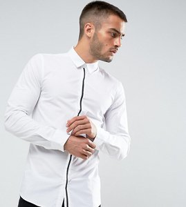 Read more about Only sons skinny smart shirt with placket detail - white