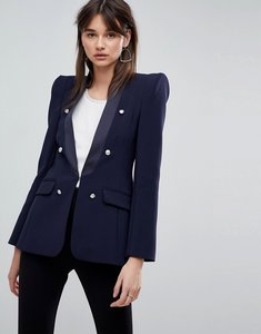 Read more about Asos premium tailored blazer with military buttons - navy