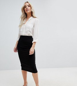 Read more about Asos design petite midi pencil skirt in jersey with back split - black