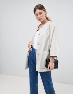 Read more about Helene berman wool blend kimono coat with cropped sleeves - oatmeal