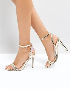 Read more about Office hotter metallic heeled sandals - gold