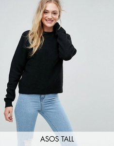 Read more about Asos tall jumper in fluffy yarn with crew neck - black