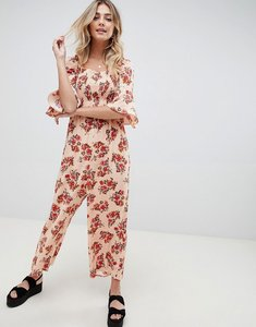 Read more about Asos design jumpsuit with shirred bodice in ditsy floral print - blush floral