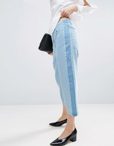 Read more about Asos white relaxed fit jeans with contrast side stripe in multi tone wash - blue