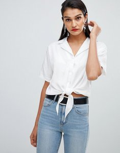 Read more about Selected femme jacquard spot tie blouse - white