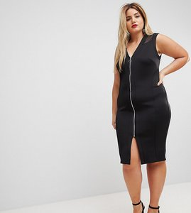 Read more about Asos curve mesh insert bodycon zip midi dress - black