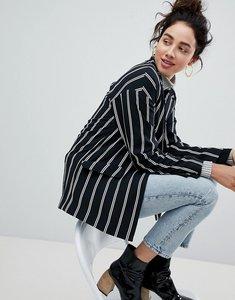 Read more about Monki tailored popper detail stripe blazer - black