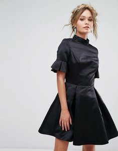 Read more about Chi chi london high neck mini dress with 3 4 sleeve and frill detail - black