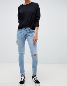 Read more about Criminal damage ripped knee skinny jeans - light wash